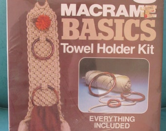 Vintage Wall Hanging Art Kit Macrame Towel Holder Never Used  Pattern Yarn Hoops included 70s 80s Era