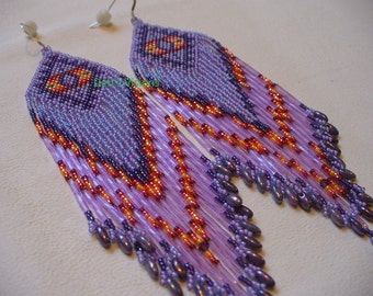 Native American Style brick stitched Shoulder duster Roxanne Bird design earrings in Lavender and Purple