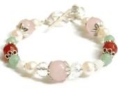 Juno Fertility Pregnancy Bracelet in Sterling Silver, Moonstone, Rose Quartz, Carnelian, holistic jewelry, crystal healing bracelet