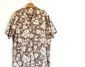 sale Mens vintage Hawaiian shirt / cotton camp shirt / cotton / brown cream black / batik resist print style / L XL / for dad