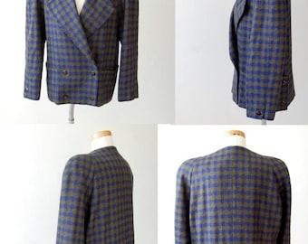 sale vintage oversized wool jacket blazer / unique pockets / Olive Green Cobalt Blue