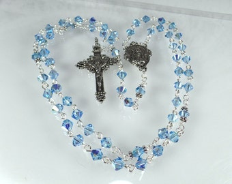 Blue Rosary Crystal Rosary Catholic Rosary Swarovski Aqua Confirmation Gift Quinceanera Godmother Mother's Day Gift