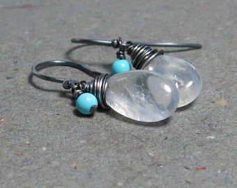Rainbow Moonstone Earrings Turquoise Dangle Oxidized Sterling Silver Earrings Gift For Her