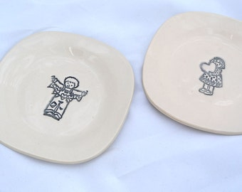 SALE ITEM -- Boy and Girl Plate set