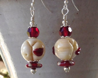 Swarovski Crystal and Lampwork Bead Dangle Earrings   srajd  handmade  fun sassy valentines