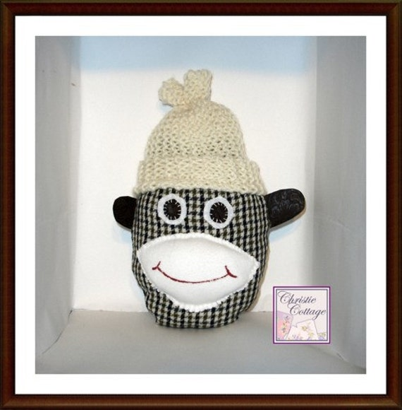 Sock Monkey Head, Decorative Pillow
