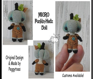 "ANY DAY 2"" Miniature Pumpkin Handmade Crochet Doll Any Color 3 Sizes MADE-to-Order Boy or Girl"