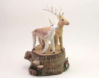 Vintage Style Spun Cotton Woodland Deer On Stump Base Wedding Topper OOAK
