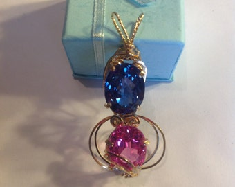 Beautiful Pink and Blue Topaz Pendant