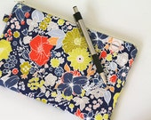 Dark blue floral padded wallet, cash envelope, zipper pouch. Coral and lime purse with zipper. Gray polka dots with peach, pen pencil case