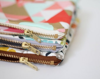 Device sleeve, chargers, Coral, Teal, Metallic Gold Geometric, gadget bag, case, Storage zipper bag, Cosmetic bag, metal zipper pouch