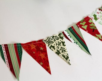 Red, Green Bunting. Christmas party mini pennant flags. Party decoration. Striped fabric sewn flag banner. Family Christmas card Photo prop.