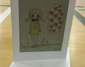 Beastie- chat bubble filled with hearts! Blank greeting card - small original ink drawings