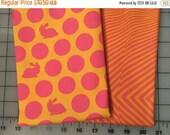 Summer Sale Tula Pink Fox Field Orange Pink Bunny Dots Lazy Stripes Cotton Fabric half yard bundle shereesalchemy