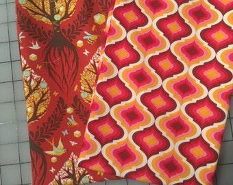 Tula Pink Moon Shine Red and Orange Geo and Tree of Life fabric FQ bundle free spirit fabric apple bird fabric geometric print