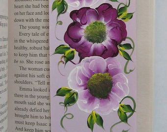 Hand-painted Magnetic Bookmark - Purple and White Flowers - No. 1202