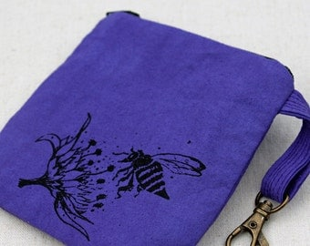 Cotton zipper pouch, coin purse, clip on bag, bee in flower design, purple purse, screenprinted, card key bag, hand dyed, travel purse