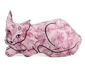decorative pillow, cat pillow, animal pillow, big relaxed cat shaped, cat plush