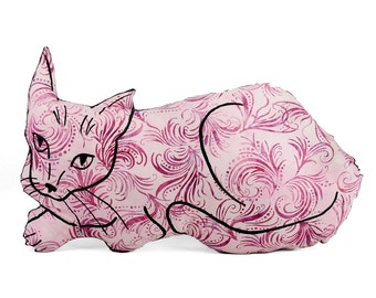 decorative pillow, cat pillow, animal pillow, big relaxed cat shaped, cat plush
