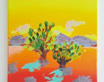 Joshua Trees Acrylic Painting