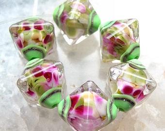 Alpine Blossom - Set of 6 Crystal Bicone Beads - SRA Glass Lampwork