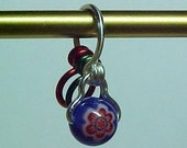Red and Blue Millefiori Increase Decrease Stitch Marker - Size US 5 - Item No. 67