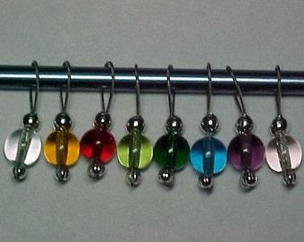 Rainbow Czech Glass Stitch Markers - US 10 - Item No. 786