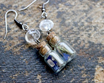 Connected Earrings - Elemental Mini Bottle Spell Jar Quartz Crystals Dried Flowers