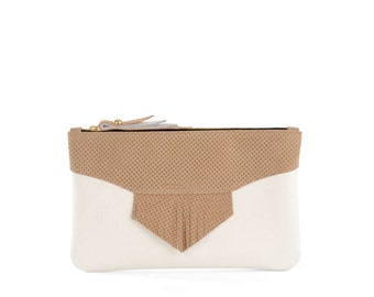 White/Tan Leather Clutch