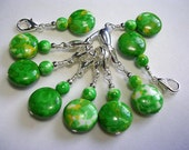 Crochet Stitch Markers Green Zipper Clips Polished Ocean Jade Crochet Stitch Markers Fan Pulls Gemstone Stitch Markers
