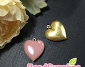 CH-EX-08055DP - Nickel Free, Heart-shaped locket, dusty pink, 2pcs