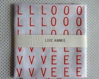 LOVE screenprinted handkerchief