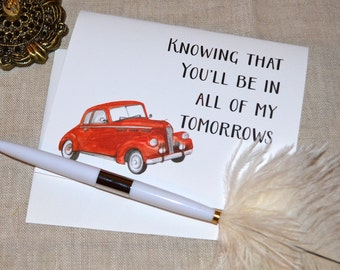 All of my tomorrows Anniversary card- antique cars  - single card