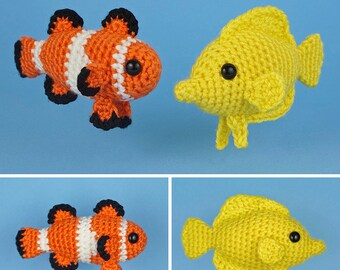 PDF Tropical Fish Set 1 - two amigurumi fish CROCHET PATTERNS Ocellaris Clownfish Yellow Tang Nemo