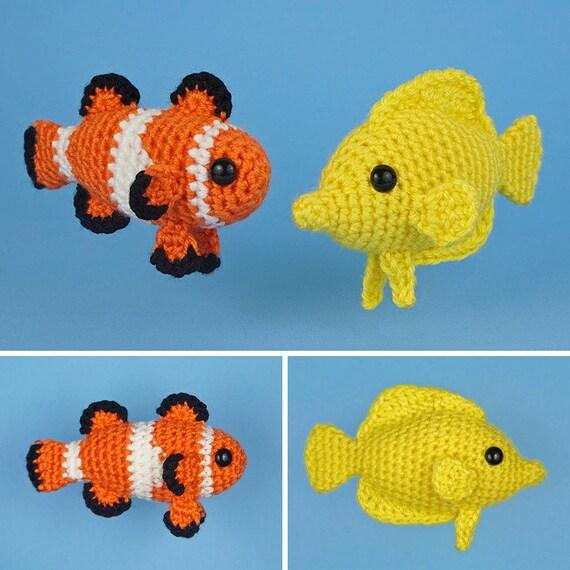 PDF Tropical Fish Set 1 two amigurumi fish CROCHET PATTERNS