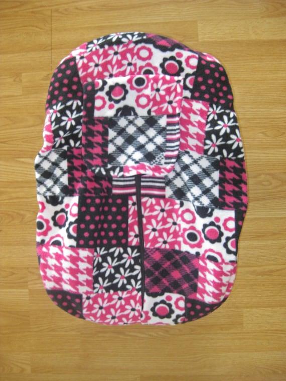 Pink Patterned Fleece Infant Car Seat Cover