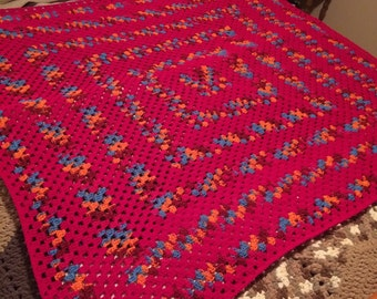 Bright Pink Crocheted Granny Square Afghan/Blanket/Throw