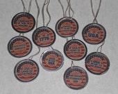 """10 Assorted Primitive Patriotic July 4 Americana 1 1/4"""" Metal Rimmed Hang Tags Party Decor Mini Ornaments"""