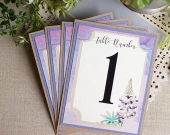 Texas Bluebonnet Wedding Reception Table Numbers - Texas wedding reception - wildflower wedding - spring garden wedding - table markers