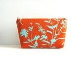 Cosmetic Case Makeup Bag Zipper Pouch Rust Wildflowers Joel Dewberry Ginseng