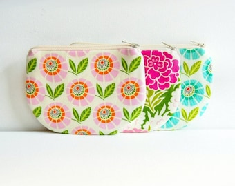 Coin Purse, Small Zipper Pouch, Choice of Colors, Women and Teens, Heather Bailey, Up Parasol
