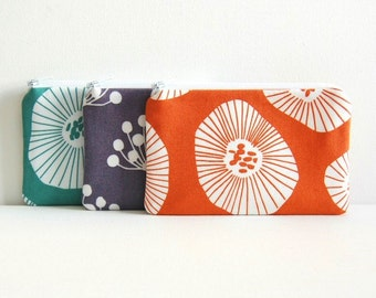 Coin Purse, Small Zipper Pouch, Lotta Jansdotter Echo, Choice of Colors, Women and Teens