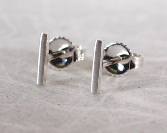 7mm x 1mm Brushed Silver Bar Stud Earrings Sterling Silver Earrings Tiny Thin Studs by Susan Sarantos