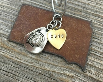 SOUTH DAKOTA | Rustic 2016 Christmas Ornament | Pickup Truck, Cowboy Hat or Boot Charms, Handstamped Brass Tag