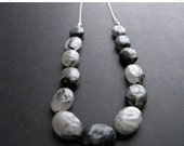 SALE Tourmalinated Quartz Necklace, Sterling Silver Chain Necklace with Black Gemstones