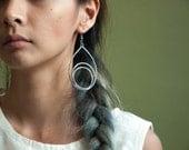 oversized silver drop earrings / long dangle earrings / 1171a