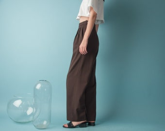 MAX MARA virgin wool brown trousers / high waist wool pants / pleated baggy pants / s / 6 / 1804t / B15
