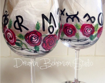 Hand Painted Stemware Wine Glasses Western Brands Red Roses and Barbed Wire Cowtown Pilsners Shots Wines Balloon Dinner Martini
