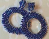 Post Hoop Earrings - Blue Beaded Post Earrings