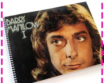 SALE 40% OFF--- Record Album Cover Journal BARRY Manilow I (Debut Album) Recycled Record Album Cover Journal Notebook, Eco Friendly, Vintage